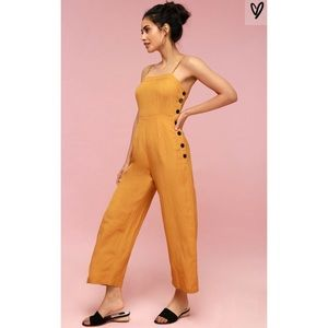 Queens golden yellow button-up coulotte jumpsuit